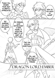 Size: 1280x1802 | Tagged: safe, artist:jonfawkes, princess ember, spike, human, series:nightmare war, black and white, comic, grayscale, humanized, monochrome, winged humanization, wings