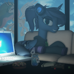 Size: 2000x2000 | Tagged: safe, artist:feuerrader-nmm, princess celestia, princess luna, alicorn, pony, gamer luna, 3d, alternate hairstyle, candy, clothes, computer, donut, female, food, headphones, hoodie, laptop computer, looking at you, mare, ponytail, prone, socks, solo focus, striped socks