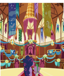 Size: 2905x3440 | Tagged: safe, composite screencap, edit, edited screencap, editor:frustration in excelsis, screencap, spike, twilight sparkle, dragon, pony, friendship is magic, banner, decoration, duo, female, male, mare, ponyville town hall