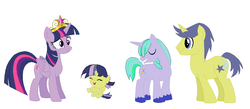 Size: 1216x532 | Tagged: safe, artist:springthornwillow, comet tail, twilight sparkle, oc, oc:crystal shield, oc:fire sparks, alicorn, pony, unicorn, alicorn oc, baby, baby pony, base used, big crown thingy, colt, cometlight, element of magic, family, female, filly, horn, jewelry, male, offspring, parent:comet tail, parent:twilight sparkle, parents:cometlight, regalia, shipping, simple background, straight, twilight sparkle (alicorn), white background