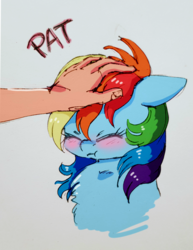 Size: 1063x1377 | Tagged: safe, artist:buttersprinkle, rainbow dash, human, pony, :t, blushing, chest fluff, cute, dashabetes, eyes closed, grumpy, grumpy dash, hand, head pat, offscreen character, offscreen human, pat, patting, pony pet, rainbow dash is not amused, simple background, unamused
