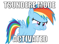 Size: 790x587   Tagged: safe, artist:s.guri, rainbow dash, pegasus, pony, caption, female, filly, filly rainbow dash, image macro, puffy cheeks, scrunchy face, simple background, solo, text, transparent background, tsunderainbow, tsundere, younger