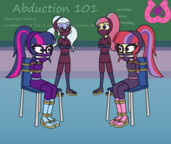 Size: 1234x1036 | Tagged: alternate costumes, arms behind back, artist:author92, bondage, brightlycoloredninjas, chairtied, cleave gag, clothes, crossed arms, crystal prep academy, equestria girls, female, females only, gag, kunoichi, mask, moondancer, ninja, rope, rope bondage, safe, sandals, sci-twi, socks, sour sweet, sugarcoat, twilight sparkle