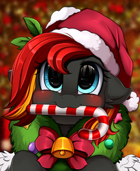 Size: 1446x1764 | Tagged: safe, artist:pridark, oc, oc:flamerunner, pony, bell, blushing, candy, candy cane, christmas, commission, cute, food, hat, holiday, mouth hold, ocbetes, pridark's christmas ponies, santa hat, solo, wreath, ych result