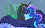 Size: 1400x895 | Tagged: safe, artist:luna dave, princess luna, queen chrysalis, alicorn, changeling, changeling queen, pony, a better ending for chrysalis, chrysaluna, colored wings, female, horn, horn jewelry, jewelry, lesbian, shipping, spotted, wing fluff, wings