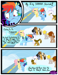 Size: 3500x4500 | Tagged: safe, artist:becauseimpink, dumbbell, fluttershy, gilda, hoops, quarterback, rainbow dash, griffon, pegasus, pony, comic:transition, angry, butterscotch, cloud, colt, comic, dialogue, dumb belle, female, filly, filly fluttershy, filly rainbow dash, guilder, hair over one eye, male, nervous, raised hoof, rule 63, sad, transgender, younger