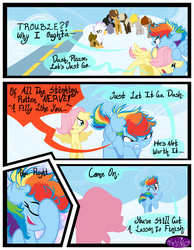 Size: 3500x4500 | Tagged: safe, artist:becauseimpink, dumbbell, fluttershy, gilda, hoops, quarterback, rainbow dash, griffon, pegasus, pony, comic:transition, angry, cloud, colt, comic, dialogue, dumb belle, facehoof, female, filly, filly fluttershy, filly rainbow dash, guilder, hair over one eye, male, messy mane, one eye closed, open mouth, rule 63, transgender, wink, younger