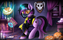 Size: 1024x652   Tagged: safe, alternate version, artist:hoodiefoxy, oc, oc:blake light, pony, unicorn, book, bookshelf, clothes, cutie mark, halloween, holiday, indoors, jack-o-lantern, lantern, levitation, magic, mask, pumpkin, raised hoof, solo, spellbook, telekinesis