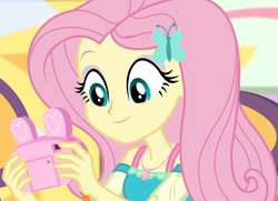 Size: 1494x1080 | Tagged: bunny ears, camera, canterlot mall, chair, clothes, cropped, cute, dashing through the mall, dress, equestria girls, equestria girls series, female, female focus, fluttershy, geode of fauna, hairclip, happy, holidays unwrapped, jewelry, looking down, magical geodes, mall, necklace, present, safe, screencap, shyabetes, sitting, smiling, solo, solo female, solo focus, spoiler:eqg series (season 2)