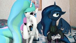 Size: 1920x1080 | Tagged: safe, artist:feuerrader-nmm, princess celestia, princess luna, pony, gamer luna, 3d, clothes, controller, hoodie, joystick, no catchlights, playstation 2, unamused