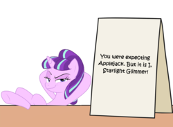 Size: 1087x797 | Tagged: safe, artist:mkogwheel edits, edit, starlight glimmer, pony, applejack's sign, it was me dio, jojo's bizarre adventure, meme