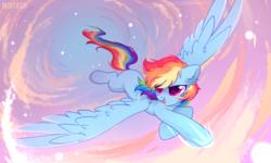 Size: 2581x1549 | Tagged: safe, artist:mirtash, rainbow dash, pegasus, pony, cloud, cute, dashabetes, ear fluff, female, flying, mare, missing cutie mark, sky, solo, spread wings, wings