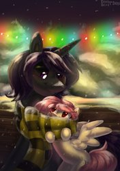 Size: 2000x2848 | Tagged: safe, artist:enderselyatdark, oc, oc only, oc:enderdan t'dark, oc:selya t'dark, alicorn, pegasus, pony, alicorn oc, clothes, cute, horn, pegasus oc, scarf, snow, snowfall, winter