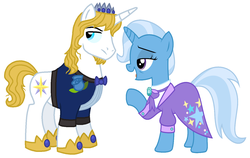 Size: 1351x856 | Tagged: safe, artist:igokapichka, artist:starryoak, edit, prince blueblood, trixie, pony, unicorn, the last problem, spoiler:s09e26, alternate hairstyle, bluetrix, clothes, crown, facial hair, female, goatee, jewelry, lidded eyes, male, mare, older, older prince blueblood, older trixie, regalia, shipping, simple background, stallion, straight, white background
