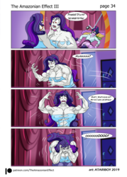 Size: 1811x2525 | Tagged: armpits, artist:atariboy2600, artist:bluecarnationstudios, comic:the amazonian effect iii, equestria girls, fangs, growth, human, mouse, muscle growth, muscles, overdeveloped muscles, rarity, red eyes, ripped rarity, safe, sci-twi, twilight sparkle