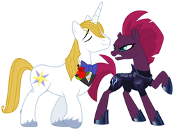 Size: 2090x1559 | Tagged: safe, fizzlepop berrytwist, prince blueblood, tempest shadow, my little pony: the movie, spoiler:comicff26, annoyed, arrogant, belligerent sexual tension, berryblood, diplomacy, episode idea, fanfic idea, female, glare, insult, insulted, male, sexual tension, shipping, shipping fuel, smug, straight, tempest shadow is not amused, this will end in pain, this will not end well, unamused
