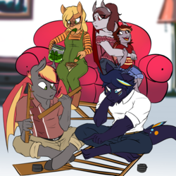 Size: 1000x1000 | Tagged: anthro, anthro oc, artist:xxmarkingxx, bat pony, bat pony oc, building, clothes, commission, concerned, couch, cravings, deer, deer pony, digital art, dracony, eating, female, food, friends, gift art, hybrid, oc, oc:azurite, oc:olive branch, oc:pepper zest, oc:savory zest, oc:scarlet quill, offspring, original species, overalls, parent:oc:savory zest, parent:oc:scarlet quill, parents:oc x oc, pickle, pregnant, safe, shirt, shorts, unguligrade anthro