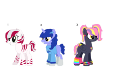 Size: 1135x704 | Tagged: safe, artist:nintendoponyaddict, oc, oc only, oc:candlelit glow, oc:minty stripes, oc:party sparkler, hybrid, pegasus, pony, unicorn, zebra, zony, blank flank, bracelet, braces, clothes, ear piercing, earring, female, freckles, grin, hairpin, jewelry, judaism, leg warmers, lip piercing, mare, markings, multicolored hair, necklace, piercing, religion, simple background, smiling, sweater, transparent background, wristband