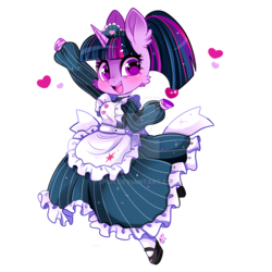 Size: 800x800 | Tagged: safe, artist:ipun, twilight sparkle, anthro, unguligrade anthro, unicorn, alternate hairstyle, apron, arm hooves, breasts, cheek fluff, chestbreasts, clothes, cute, deviantart watermark, dress, ear fluff, female, maid, mare, mary janes, obtrusive watermark, open mouth, part of a series, part of a set, ponytail, socks, solo, twiabetes, unicorn twilight, watermark