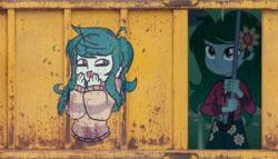 Size: 580x332 | Tagged: safe, artist:great-5, artist:hazepeach, edit, wallflower blush, equestria girls, equestria girls series, let it rain, spoiler:eqg series (season 2), crate, graffiti, metal bawkses, smug, train car