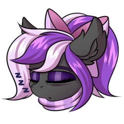 Size: 2000x2000 | Tagged: safe, artist:ask-colorsound, oc, oc only, oc:nightwalker, pony, bow, clothes, emotes, eyes closed, fangs, hair bow, onomatopoeia, scarf, simple background, sleeping, slit eyes, slit pupils, sound effects, transparent background, zzz