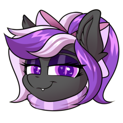 Size: 2000x2000 | Tagged: safe, artist:ask-colorsound, oc, oc only, oc:nightwalker, pony, bow, clothes, emotes, fangs, hair bow, looking at you, scarf, simple background, slit eyes, slit pupils, smug, solo, transparent background