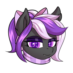 Size: 2000x2000 | Tagged: safe, artist:ask-colorsound, oc, oc only, oc:nightwalker, pony, bow, clothes, emotes, fangs, hair bow, looking at you, scarf, simple background, slit eyes, slit pupils, transparent background