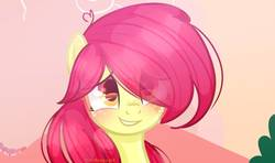 Size: 1161x688   Tagged: safe, artist:xsodagrape, apple bloom, earth pony, pony, base used, blushing, bust, eye clipping through hair, female, filly, freckles, grin, long hair, smiling, solo