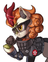 Size: 1034x1326 | Tagged: armor, artist:theprince, autumn blaze, clothes, cosplay, costume, crossover, female, grenade, hong kong, kirin, rainbow six siege, safe, safety goggles, simple background, solo, suit, transparent background, ying