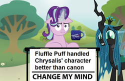 Size: 773x500 | Tagged: safe, artist:aleximusprime, artist:mixermike622, edit, queen chrysalis, starlight glimmer, changeling, changeling queen, pony, unicorn, marks for effort, :i, a better ending for chrysalis, adorkable, alternate universe, canon, change my mind, coffee mug, crossing the memes, cute, cutealis, debate in the comments, discussion in the comments, dork, dorkalis, excited, faic, fanon, female, floppy ears, friendship, giggling, grin, happy, i mean i see, implied chrysipuff, implied fluffle puff, looking at you, magic, mare, meme, meta, mouthpiece, mug, opinion, redemption, reformed, silly, silly pony, smiling, spread wings, squee, standing, steven crowder, telekinesis, tree, when she smiles, wide eyes, wings