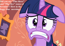 Size: 1007x720 | Tagged: safe, edit, edited screencap, screencap, twilight sparkle, pony, secret of my excess, chemistry, cropped, faic, floppy ears, golden oaks library, scared, speech, this will not end well