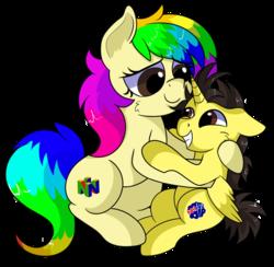 Size: 1280x1251 | Tagged: safe, artist:rainbowtashie, oc, oc:rainbow tashie, oc:tommy the human, alicorn, earth pony, pony, alicorn oc, child, colt, commissioner:bigonionbean, cutie mark, female, foal, male, mare, nintendo 64, ponified, writer:bigonionbean