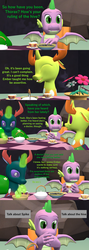 Size: 1920x5400 | Tagged: 3d, artist:papadragon69, changedling, changeling, changeling hive, choice, choose your own adventure, comic, comic:spike's cyosa, cup, dragon, food, implied princess ember, king thorax, older, older spike, pharynx, prince pharynx, rock, safe, source filmmaker, spike, sugarcube, table, tea, teacup, teenager, teenage spike, thorax, winged spike