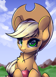 Size: 2200x3000   Tagged: safe, artist:php143, applejack, earth pony, pony, apple, applejack's hat, cowboy hat, cute, digital art, female, food, hat, jackabetes, looking at you, mare, smiling, solo, stetson
