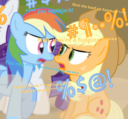 Size: 438x406 | Tagged: safe, artist:dm29, editor:gooeybird, applejack, rainbow dash, rarity, earth pony, pegasus, pony, angry, censored, censored vulgarity, cropped, duo focus, dust cloud, grawlixes, language, looking at each other, swearing