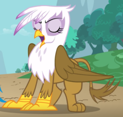 Size: 1049x1000 | Tagged: safe, screencap, gilda, griffon, griffon the brush off, cropped, eyes closed, female, open beak, solo