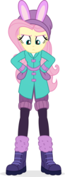 Size: 620x1692 | Tagged: artist:punzil504, clothes, coat, digital art, equestria girls, equestria girls series, female, fluttershy, holidays unwrapped, human, safe, simple background, solo, spoiler:eqg series (season 2), transparent background, unamused, winter outfit