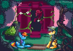 Size: 1680x1188 | Tagged: safe, artist:dasty-g, daring do, rainbow dash, insect, ladybug, pony, clothes, grass, jojo's bizarre adventure, pixel art, sitting, tree, vine