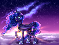 Size: 2500x1911 | Tagged: safe, artist:not-ordinary-pony, princess luna, alicorn, pony, crepuscular rays, ethereal mane, female, galaxy, galaxy mane, mare, sky, solo, twilight (astronomy)