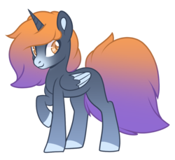 Size: 800x733 | Tagged: safe, artist:little-coffee-kisses, oc, oc:sunset winds, alicorn, pony, gradient mane, gradient tail, male, offspring, one hoof raised, parent:oc:snow vanna, parent:oc:taylor, parents:oc x oc, simple background, transparent background