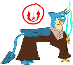 Size: 918x812 | Tagged: artist:horsesplease, gallus, gallus is not amused, jedi, lightsaber, safe, star wars, unamused, weapon