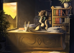 Size: 2000x1413 | Tagged: safe, artist:huussii, oc, oc only, earth pony, pony, book, bookcase, desk, office, paperwork, pencil, plant, ruler, solo, sunlight, window