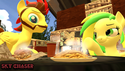 Size: 1920x1080   Tagged: safe, artist:sky chaser, oc, oc only, oc:sky chaser, oc:wooden toaster, pegasus, pony, 3d, beard, burger, facial hair, female, food, french fries, hamburger, male, source filmmaker