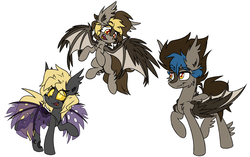 Size: 3791x2375   Tagged: safe, artist:nekro-led, oc, oc only, oc:graceful motion, oc:night striker, oc:shadow (sh-1014), bat pony, changeling, hybrid, original species, double colored changeling, fangs, fusion, simple background, white background
