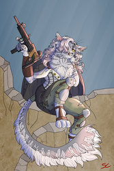 Size: 3000x4500   Tagged: safe, artist:sourcherry, oc, oc only, abyssinian, anthro, digitigrade anthro, fallout equestria, abyssinian oc, anthro oc, armor, broken wall, clothes, coat, curly hair, ear piercing, earring, female, gun, jewelry, licking, licking lips, long hair, makeup, piercing, solo, submachinegun, tongue out, uzi, weapon