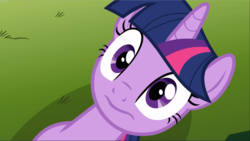 Size: 1667x940 | Tagged: safe, screencap, twilight sparkle, pony, unicorn, magic duel, close-up, cropped, looking at you, lying down, on back, solo, unicorn twilight, wavy mouth