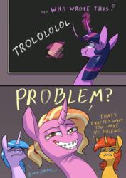 Size: 2480x3508 | Tagged: safe, artist:underpable, luster dawn, twilight sparkle, alicorn, pony, unicorn, the last problem, spoiler:s09e26, braces, dead meme, high res, meme, princess twilight 2.0, problem, sweat, troll, trollface, trolling, twilight sparkle (alicorn)