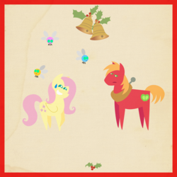 Size: 2000x2000 | Tagged: safe, anonymous artist, big macintosh, fluttershy, parasprite, pony, series:12 days of hearth's warming, series:fm holidays, 12 days of christmas, bell, big macintosh is not amused, border, christmas, female, fluttermac, hearth's warming, holiday, holly, male, nervous, nervous grin, pointy ponies, shipping, straight, sweat, sweatdrop, texture