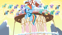 Size: 2880x1620 | Tagged: safe, screencap, candy floss (character), chocolate blueberry, cloud kicker, cloud showers, dizzy twister, flutter doo, grape soda, orange swirl, rainbow dash, rainbowshine, spring melody, sprinkle medley, sunshower raindrops, wind chill, pegasus, pony, winter wrap up, angry, background pony, blue emerald, clones, clothes, female, flying, mare, multeity, ponyville, ponyville town hall, snow, unbrella drops, unnamed pony, weather team, winter wrap up vest