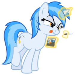 Size: 7000x7000 | Tagged: safe, artist:djdavid98, artist:pirill, oc, oc only, oc:penny curve, pony, unicorn, 2020 community collab, derpibooru community collaboration, mlp vector club, absurd resolution, collaboration, concentrating, eyedropper, female, leaning forward, lifted leg, magic, mischievous, show accurate, simple background, solo, telekinesis, tongue out, transparent background, vector